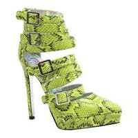 Women's Luichiny Take Me Back High Heel Acid Yellow Snake Imi Leather