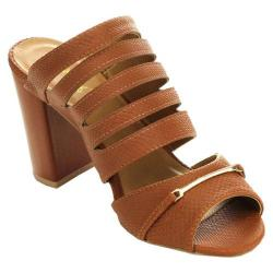 Women's Wild Diva Clarity-09 Chunky Slide Camel Faux Leather