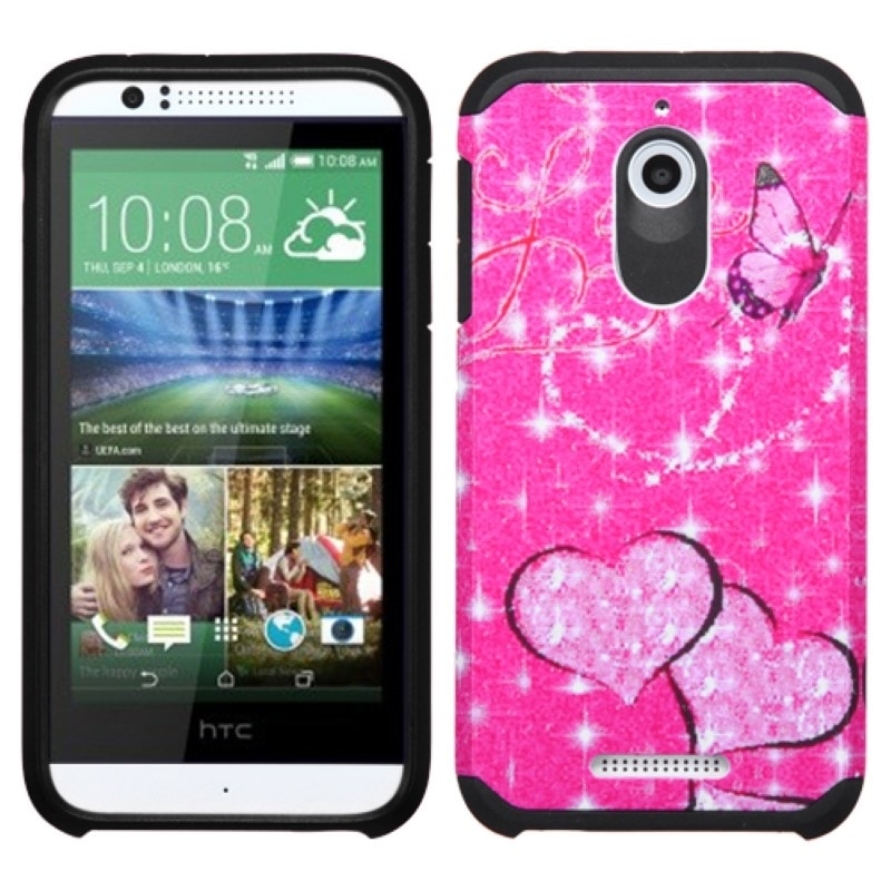 Insten Hot Pink/White Heart Graffiti Hard PC/ Silicone Dual Layer Hybrid Rubberized Matte Phone Case Cover For HTC Desire 510