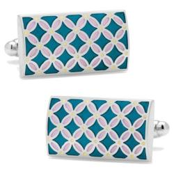 Men's Cufflinks Inc Floral Rectangle Cufflinks Teal