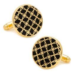 Men's Cufflinks Inc Gold Filigree Cufflinks Black