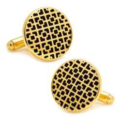 Men's Cufflinks Inc Gold Lattice Cufflinks Black