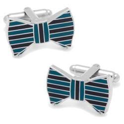 Men's Cufflinks Inc Horizontal Striped Bowtie Cufflinks Teal