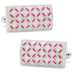 Men's Cufflinks Inc Light Floral Rectangle Cufflinks Blue