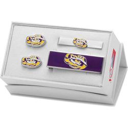 Men's Cufflinks Inc LSU Tiger's Eye 3-Piece Gift Set Purple