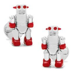 Men's Cufflinks Inc Moving Robot Cufflinks Silver