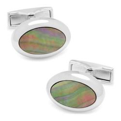 Men's Cufflinks Inc Silver Mother of Pearl Oval Cufflinks Gray