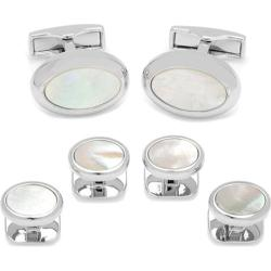 Men's Cufflinks Inc Silver Mother of Pearl Oval Stud Set White