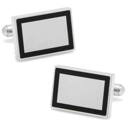 Men's Cufflinks Inc Stainless Steel Rectangle Engravable Framed Cuffli Silver