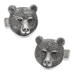 Men's Cufflinks Inc Sterling Bear Head Cufflinks Silver