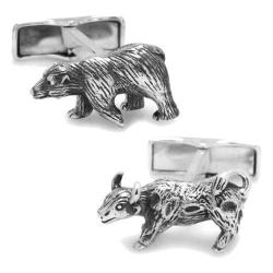 Men's Cufflinks Inc Sterling Bull Bear Cufflinks Silver