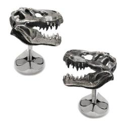 Men's Cufflinks Inc Sterling T-Rex Dinosaur Skull Cufflinks Silver