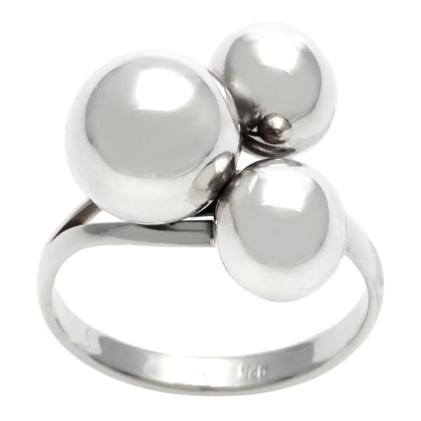 Sterling Silver 3 Ball Ring Free Shipping Today