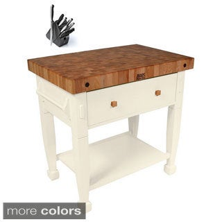 John Boos Jasmine JASMN3624-D-S 36x24 inch Butcher Block with Henckels 13 Piece Knife Block Set