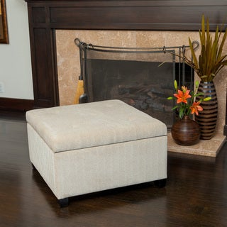 Samona Wheat Tufted Fabric Storage Ottoman by Christopher Knight Home