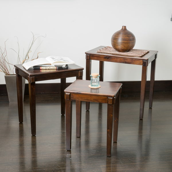 Quentin Acacia Wood Nesting Tables (Set of 3) by Christopher Knight Home