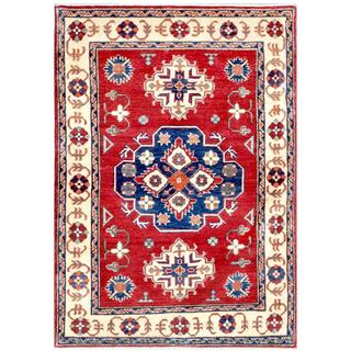 Herat Oriental Afghan Hand-knotted Kazak Red/ Ivory Wool Rug (3'7 x 4'11)