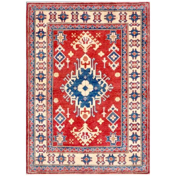 Handmade Herat Oriental Afghan Kazak Wool Rug - 3'7 x 4'11 (Afghanistan)