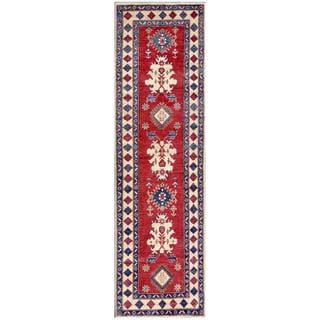 Herat Oriental Afghan Hand-knotted Kazak Red/ Ivory Wool Rug (2'10 x 9'9)