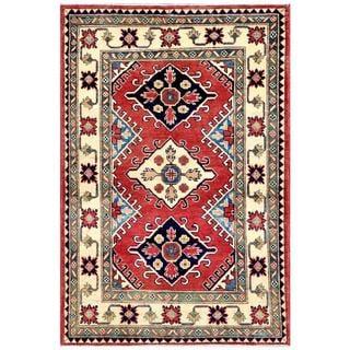Herat Oriental Afghan Hand-knotted Kazak Rust/ Beige Wool Rug (3'3 x 4'9)