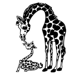 Giraffe Mom and Child Glossy Black Vinyl Wall Decal