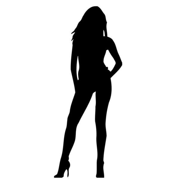 Girl in Heels Glossy Black Vinyl Wall Decal