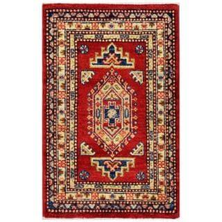Herat Oriental Afghan Hand-knotted Kazak Red/ Beige Wool Rug (1'11 x 3'1)