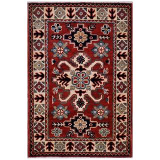 Herat Oriental Afghan Hand-knotted Kazak Red/ Ivory Wool Rug (1'11 x 2'11)