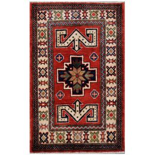 Herat Oriental Afghan Hand-knotted Kazak Red/ Ivory Wool Area Rug (2'1 x 3'3)