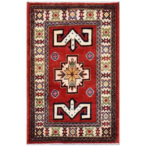 Herat Oriental Afghan Hand-knotted Kazak Wool Area Rug (2'1 x 3'3) - 2'1 x 3'3