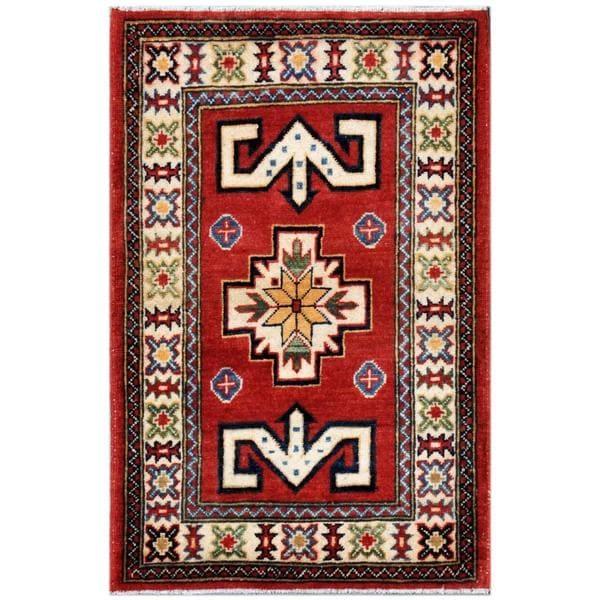 Herat Oriental Afghan Hand-knotted Kazak Wool Area Rug (2'1 x 3'3)
