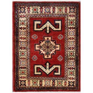 Herat Oriental Afghan Hand-knotted Kazak Red/ Beige Wool Rug (1'11 x 2'10)