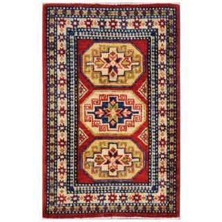 Herat Oriental Afghan Hand-knotted Kazak Red/ Ivory Wool Rug (1'11 x 3')