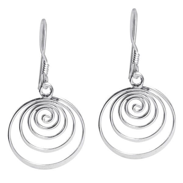 Handmade Spiral Comets Dangle .925 Sterling Silver Earrings (Thailand)