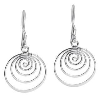 Handmade Spiral Comets Dangle .925 Sterling Silver Earrings (Thailand)