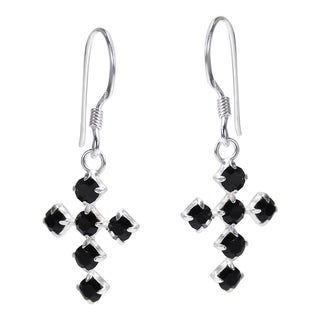 Handmade Spiritual Cross Cubic Zirconia .925 Silver Dangle Earrings (Thailand)