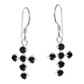 Handmade Spiritual Cross Cubic Zirconia .925 Silver Dangle Earrings (Thailand)|https://ak1.ostkcdn.com/images/products/8809402/P16044988.jpg?impolicy=medium