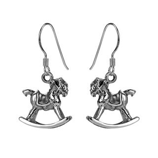 Vintage Style Rocking Horse Sterling Silver Dangle Earrings (Thailand)