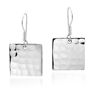 Hammered Texture Square Sterling Silver Earrings (Thailand)