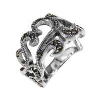 Handmade Sweet Love Swirls Marcasite Stone Sterling Silver Ring (Thailand) - Black