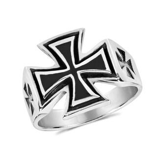 Handmade Solid Maltese Iron Cross Enamel .925 Sterling Silver Ring (Thailand)