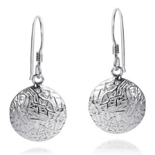 Handmade Textured Round Button Style .925 Silver Dangle Earrings (Thailand)