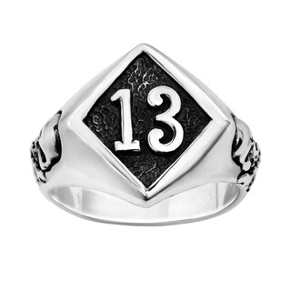 Lucky Number 13 Round Mystical Skull Sterling Silver Ring (Thailand)