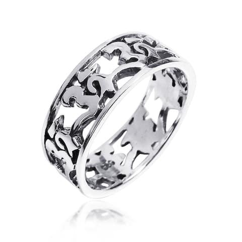Handmade Peaceful Harmony Aum or Ohm Symbol .925 Silver Band Ring (Thailand)
