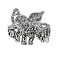 Handmade Mythical Flying Elephant Marcasite Stone .925 Sterling Silver Ring (Thailand)