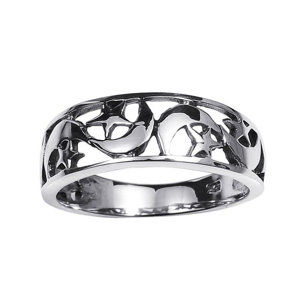 Handmade Ancient Eastern Star and Crescent Moon Sterling Silver Ring (Thailand)