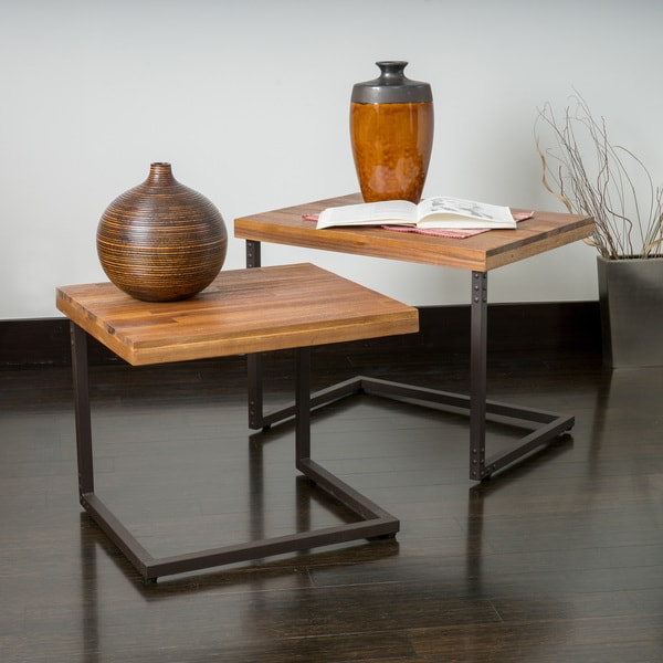 Braeden Sandblast Rustic Wood Iron Nested Tables Set Of 2 Free Shipping Today Overstock