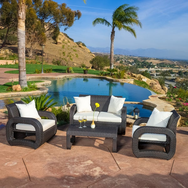 Medfield Outdoor 4-piece Brown Wicker Seating Set by Christopher Knight Home