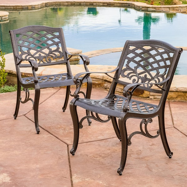 Sarasota Cast Aluminum Bronze Outdoor Chair Set of 2 by Christopher Knight