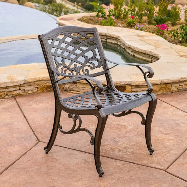 Sarasota Cast Aluminum Bronze Outdoor Chair (Set Of 2) By Christopher  Knight Home   Free Shipping Today   Overstock.com   16045028